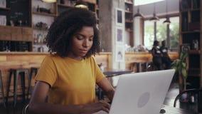 研究在咖啡馆的膝上型计算机的年轻女人 股票视频