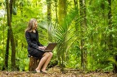 研究她的膝上型计算机的一个年轻女商人在森林里 免版税库存照片