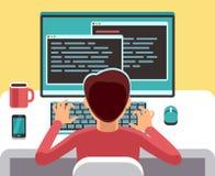 研究有代码的计算机的年轻人程序员在屏幕上 学生编程的传染媒介概念 向量例证