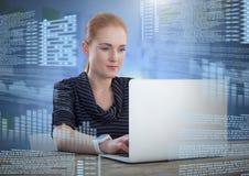 研究有屏幕文本接口的膝上型计算机的女实业家 库存照片