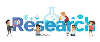 研究横幅 登记概念教育查出的老 平的样式 向量例证