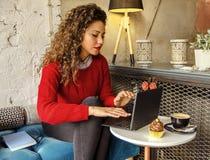 研究笔记本电脑的美丽的年轻女人 免版税库存图片