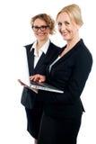 研究膝上型计算机的二名总公司妇女 免版税库存照片