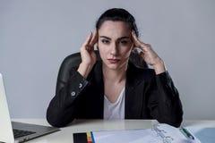 研究膝上型计算机的女商人在遭受强烈的头疼偏头痛的重音的办公室 库存图片