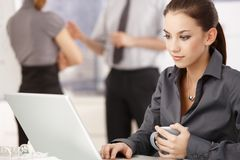 研究膝上型计算机的少妇在办公室 免版税库存图片