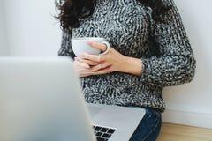 研究膝上型计算机的年轻女人自由职业者 库存照片