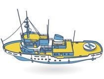 研究船,科学家的海洋研究小船 皇族释放例证