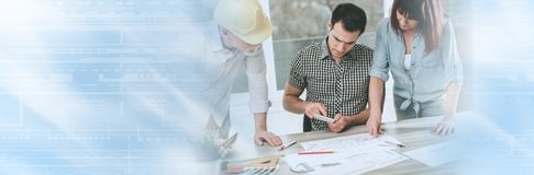 研究计划的建筑师;全景横幅 免版税图库摄影