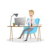 研究计算机的商人在办公桌 库存照片