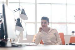 研究计算机的女商人在办公室 免版税库存照片