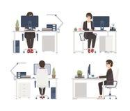 研究计算机的妇女 坐在椅子的女性办公室工作者、秘书或者助理在书桌 平的漫画人物 皇族释放例证