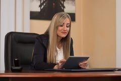 研究计算机的少妇在办公室 库存照片