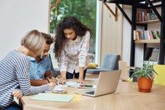 研究队项目的创造性的年轻企业家队,看通过关于赢利的信息在膝上型计算机 免版税库存照片