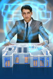 研究3d未来派公寓设计的设计师 图库摄影
