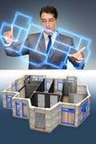 研究3d未来派公寓设计的设计师 免版税库存照片