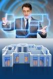 研究3d未来派公寓设计的设计师 免版税图库摄影