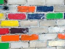 砖五颜六色的墙壁 库存照片