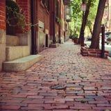 砖和石头街道在波士顿,马萨诸塞,美国 库存图片