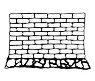 砖和石头被绘的墙壁  库存照片