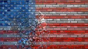 砖墙与作用的得克萨斯旗子 股票视频