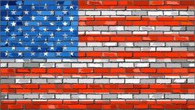 砖墙与作用的美国旗子 向量例证