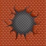 砖墙凹陷裂缝孔透明背景传染媒介例证 库存例证