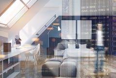 砖墙卧室和家庭办公室,木头,人 免版税库存图片
