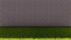 砖墙后面和绿草地板 免版税库存图片
