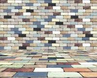 砖墙和砖地板 库存图片