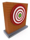 砖墙和红色箭目标目标 免版税库存图片