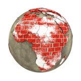 砖墙地球上的非洲 免版税图库摄影