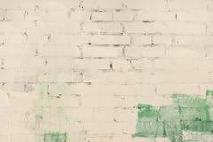 砖墙抽象绘与绿色和苍白米黄油漆 与离婚的背景,纹理 免版税库存照片