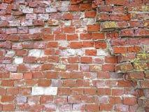 砖墙 剥落脏的破裂的墙壁的老片状白色油漆 镇压,刮,剥老油漆和膏药在背景 免版税库存照片