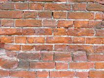 砖墙 剥落脏的破裂的墙壁的老片状白色油漆 镇压,刮,剥老油漆和膏药在背景 免版税图库摄影