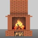砖壁炉 库存例证