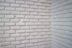 砖壁角墙壁白色 免版税库存照片