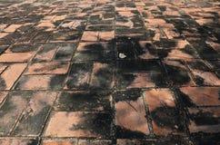 砖寺庙地板背景在阿尤特拉利夫雷斯泰国 免版税库存图片