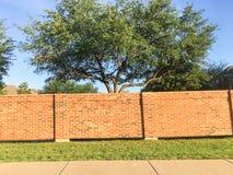 砖屏幕墙壁和合理的墙壁在达拉斯堡垒相当区域, Te价值 库存图片