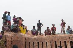 砖工厂在印度 免版税库存图片