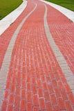 砖弯曲的路径 免版税库存照片