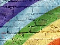 砖彩虹墙壁 免版税图库摄影