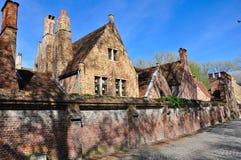 砖房子,布鲁日,中世纪城市 免版税库存图片