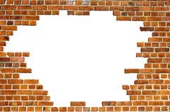 砖漏洞红色纹理墙壁 免版税库存图片