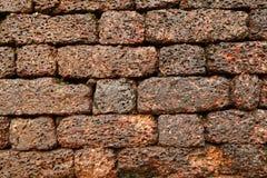 砖的美好的样式在古老Aguada堡垒的墙壁上的 库存图片