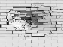 砖粉碎的墙壁 免版税库存照片