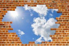 砖红色天空纹理墙壁 免版税库存照片