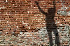 砖老影子墙壁 免版税库存照片