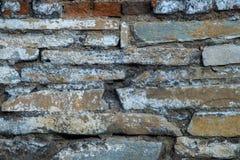 砖老纹理墙壁 年迈的石表面难看的东西背景  库存图片