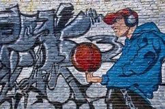 砖街道画现代样式墙壁 库存照片