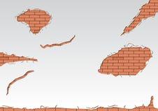 砖被中断的红色墙壁 库存图片